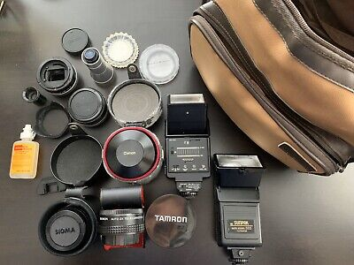 VINTAGE Hervic Camera Bag With LOT of Lenses + Accessories CANON, SIGMA, KODAK