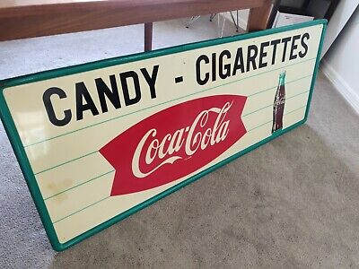 """Vintage Metal Coca Cola Fishtail Sign """"Candy-Cigarettes"""" Rare Very Large 5 feet"""