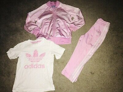 Cute Girls 3 Piece Pink Adidas Tracksuit & T-shirt, 2-3 Years