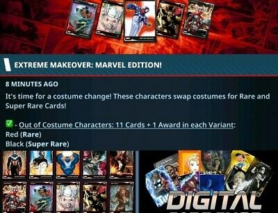 Topps Marvel Collect Card Trader Out of Costume Characters Red Set of 11