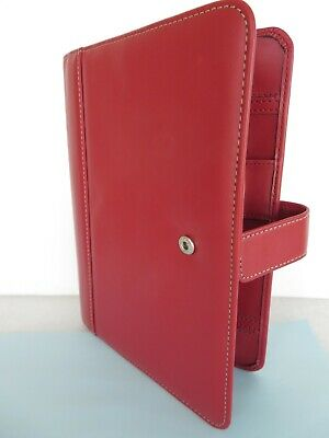 FRANKLIN COVEY ~Red Sim.Leather Padfolio WIRE BOUND Planner Cover Organizer Snap