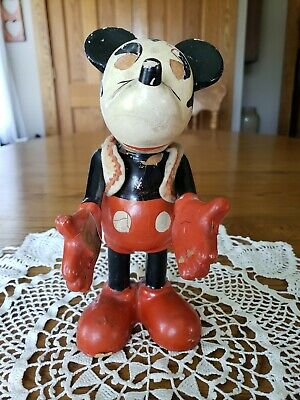 "Vintage 1930'S Knickerbocker NYC Mickey Mouse Composition Toy Figure 9.25""T"