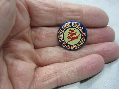 Ww2 Area Pin Back Button Keep Em Flying Lets Go U.s.a. With 3 Airplanes