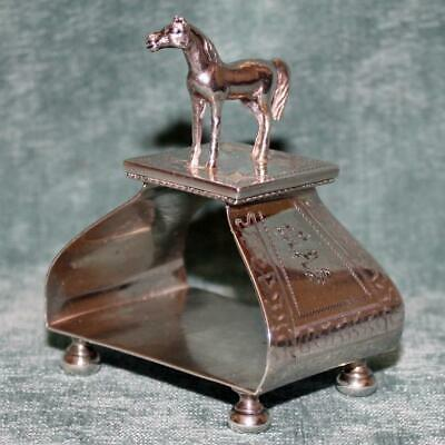 Antique Sterling Figural Napkin Ring w Horse by Ford & Tupper - RARE