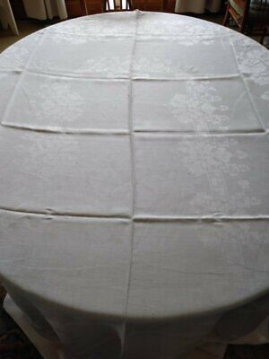 """Large Vintage Damask Tablecloth~68"""" X 100""""~Pattern, Iris Clusters?"""