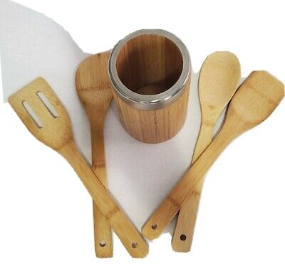 Kitchen Wooden Utensil Set with Holder Wood Cooking Spoons Spatula Tools