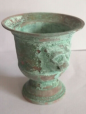 Ancient 16th Century Goblet Cup Bronze Antique With 2 Lion Head Old Very Rare