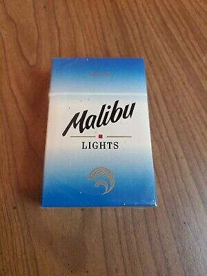 "Vintage Cigarettes Pack ""Empty"" Display Malibu Lights Box Pack Puerto Rico"