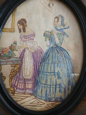 Early SWEET Antique Silk Work Needlework Embroidery Ladies/Women Flowers Frame