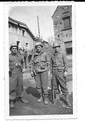 Mp's On Street In Germany 1945, Side Arms And Looks Like Carbine,Villagers Look