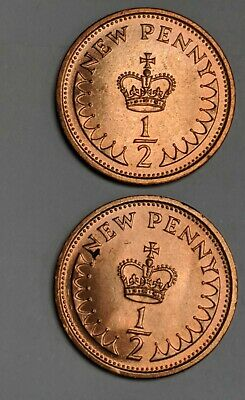 1973 Elizabeth II Decimal 1/2 New Penny /halfpenny 2 coins in lot- uncirculated.