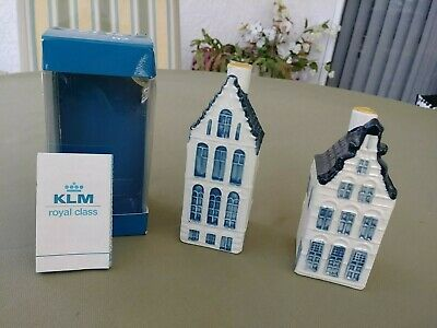 KLM BOLS BLUE DELFT SET of 2 MINIATURE HOUSE  # 52 & # 25 with seal