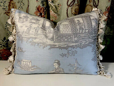 Jim Thompson Chinoiserie Silk With Scalamandre Silk Trim Accent Pillow