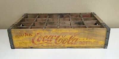 Vintage Coca Cola Soda wood crate yellow red paint Tacoma Washington Coke 1966