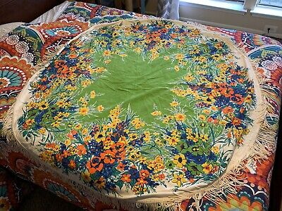"Vintage Cotton Tablecloth Floral Round 60"" & Fringe Retro Hippy"
