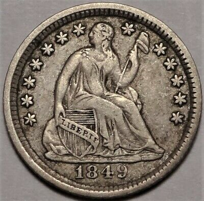 RPD 1849/6 Seated Half Dime Choice Very Fine VF+ to XF H10c Coin Old Collection