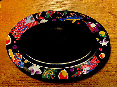 """""""PLANET HOLLYWOOD""""-- BLACK OVAL SERVING PLATE - 13 1/2 """" x 9"""" USED"""
