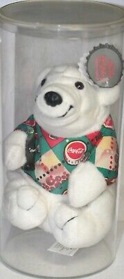 Vintage 1997 Coke Coca Cola Polar Bear In Argyle Shirt