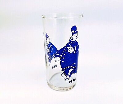 "Original 1940 Vintage Pepsi-Cola Cops PEPSI & PETE Drinking Glass 4-5/8"" Libbey"