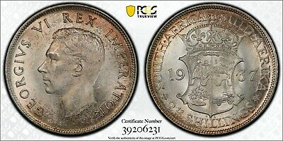 1937 South Africa 2 1/2 Shilling PCGS MS64 Silver Gold Shield Registry Coin