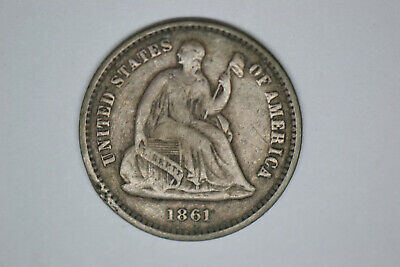 1861 Seated Liberty Half Dime- Very Strong Details.  Good Date.