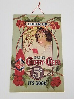 VTG 1920's Colorful Nouveau Cherry-Cheer 5¢ Soda Pop Advertising Sign Sidney, OH