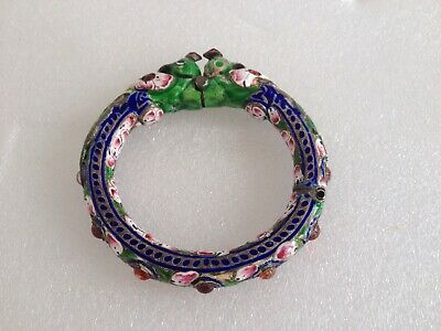 Antique Old Chinese Silver and Colorful Enamel Red Jeweled Bangle Bracelet