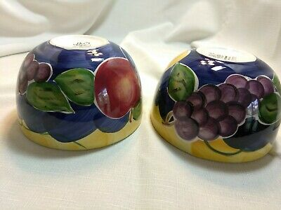 """Tabletops Unlimited Hand Painted """"Frutteto"""" 51/2"""" Fruit  Cereal Bowls"""