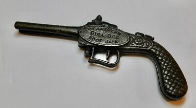 American Bulldog Boot Jack Solid Cast Iron pistol flintlock Design Bull Dog