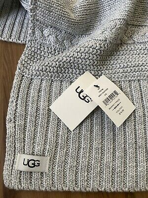 NWT Ugg Cable-Knit Scarf wool blend GREY Warm Winter Women's New