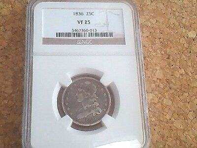1836 CAPPED BUST QUARTER 25c NGC *VF25* *SCARCE!* FREE SHIPPING!