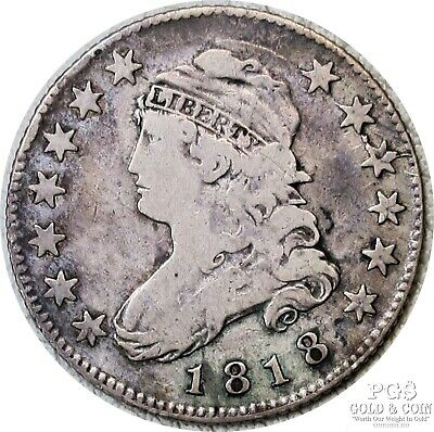 1818 Capped Bust Quarter 25c B-2  R-1 US Silver Coin 19019