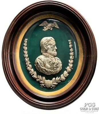 circa 1865 Ulysses S. Grant Silvered Bust in Shadow Box Frame 19.5 x 22.5 16353