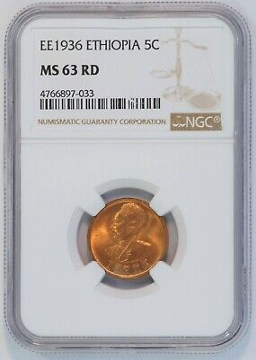 EE 1936 Ethiopia 5 Cent Coin (NGC MS 63 RD MS63RD) KM# 33 Amist Santeem (B3378)