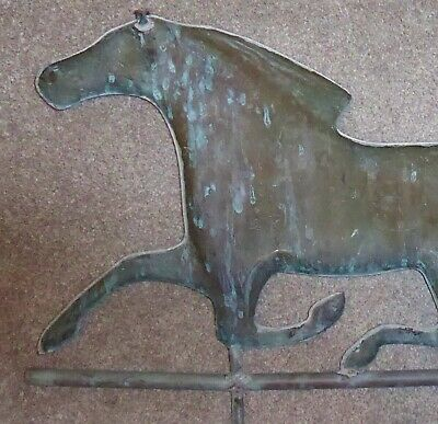 Large 1900s Antique/Vintage Copper Running Horse Weather Vane Compass Roof Mount