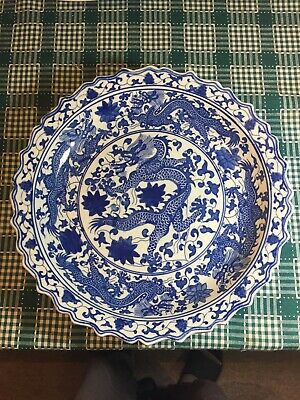Yongzheng Marked Old China Blue White Porcelain Charger