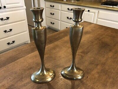 "Set of 2 / Pair Solid Brass 11"" Bombay Company Taper Candle Holders Candlesticks"
