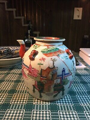 19C Chinese Export Famille Rose Porcelain Teapot with lid