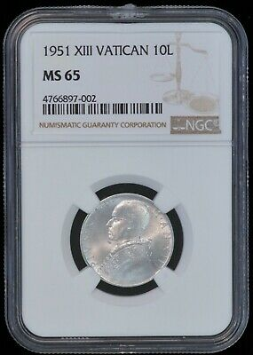 1951 XIII Vatican City 10 Lire Pope Pius XII Coin (NGC MS 65 MS65) TOP POP B2822
