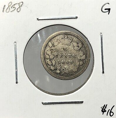 Canada 1858 Five Cent Silver 5 Cents G