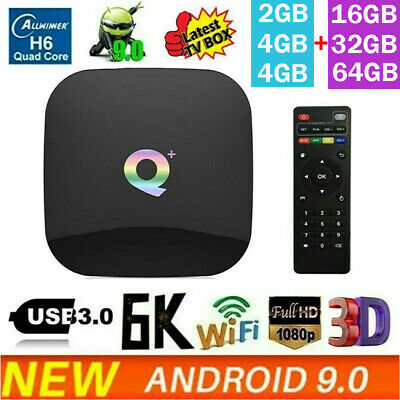Smart TV Box Q Plus Android 9.0 4GB RAM 64GB ROM 6K HD 1080P 2.4G WiFi IPTV S4I2