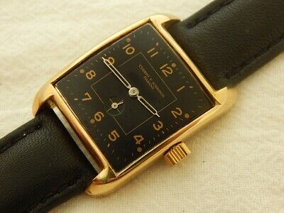 1940's CUERVO Y SOBRINOS BLACK DIAL RECTANGULAR 26X37 GOLD PLATED CASE AUTOMATIC