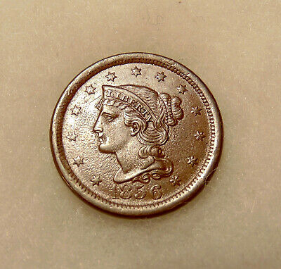 1856 Braided Hair Large Cent - Upright 5 - Pretty Brown AU Coin - FREE SHIPPING