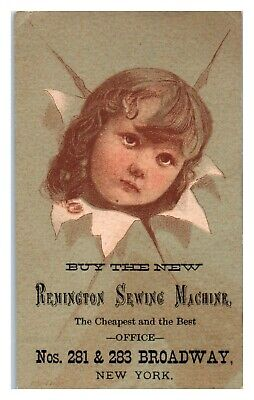 Young Girl, Remington Sewing Machine Victorian Trade Card *VT24