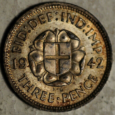 Great Britain Silver Threepence 3 Pence 1942 (Better Date!) Toned Unc-Bu!