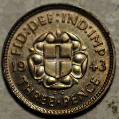 Great Britain Silver Threepence 3 Pence 1943 (Better Date!) Deeply Toned!
