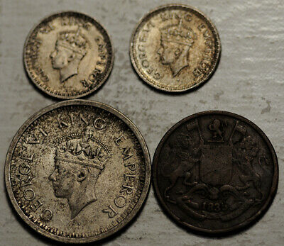 India Lot Of 4 Coins 1/4 Anna 1835 & Silver 1/4 + 1 Rupee 1943 1944 (Toned Unc!)