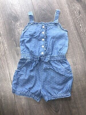 Girls Baby Gap Spotty Soft Denim Playsuit Uk Small Age 5 (more Like Age 3)
