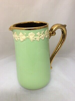 Gibson Pottery Apple Green & Gilt 15cm Jug With White Relief Embellishment sh RT
