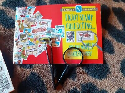 Stanley Gibbons Stamp Collecting Book Kit Starter Pack magnifying glass tweezers
